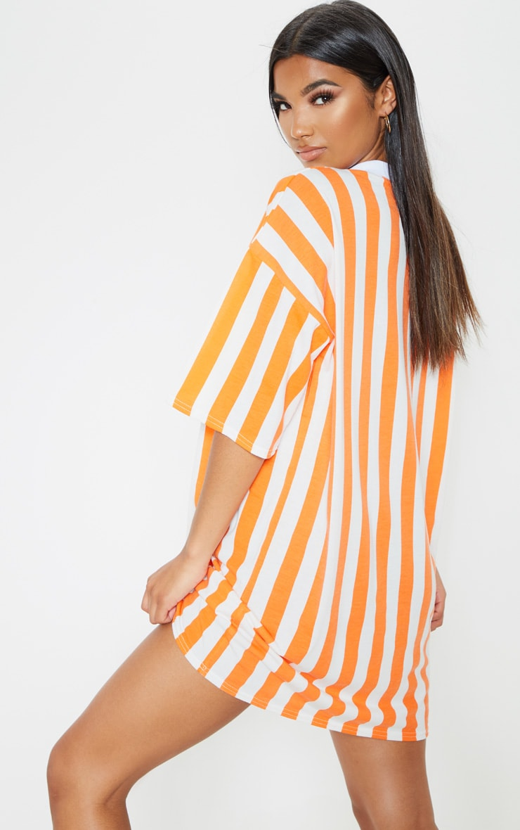 Orange Vertical Stripe Oversized Boyfriend T Shirt Dress 2