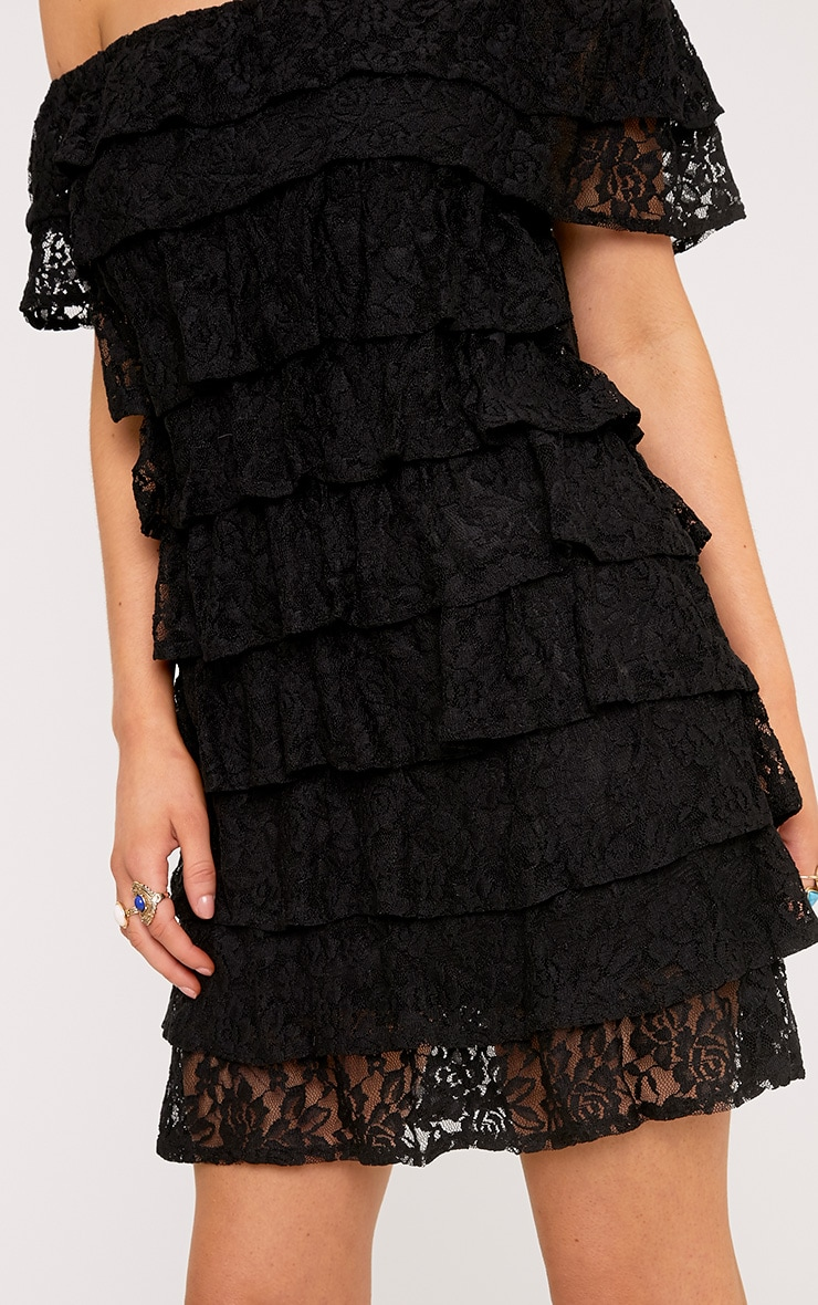 Lorella Black Lace Ruffle Layer Bardot Bodycon Dress 5