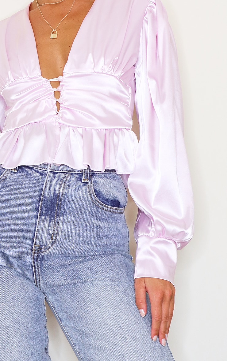 Lilac Satin Ruched Button Waist Blouse 4