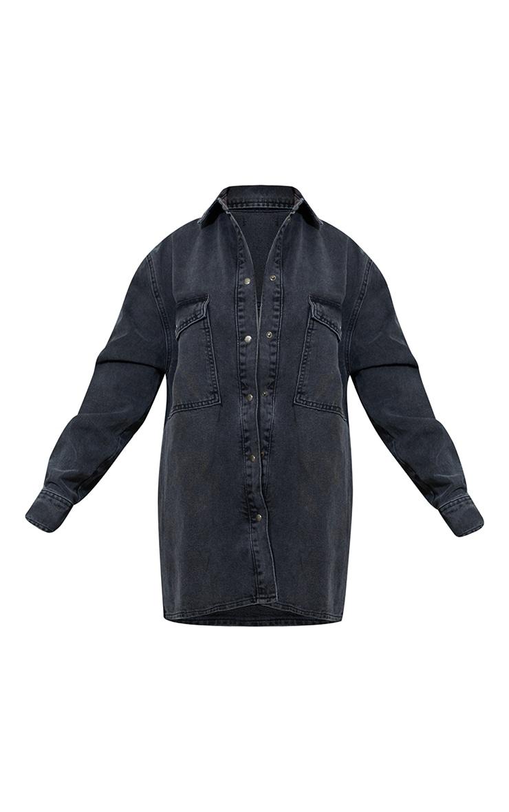 Washed Black Oversize Denim Boyfriend Shirt 5