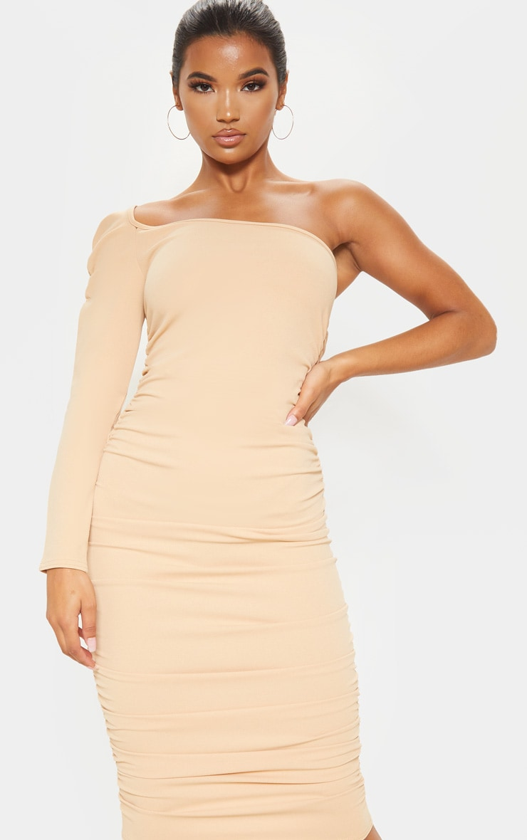 Stone One Shoulder Ruched Detail Midi Dress 5