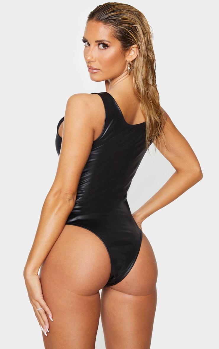 Black Wet Look Zip Up Swimsuit 2