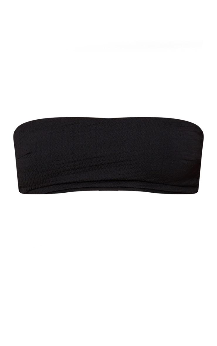 Black Crinkle Bandeau Bikini Top 3