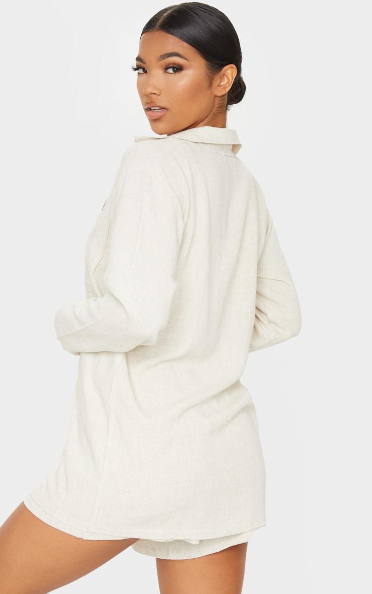Stone Oversized Linen Feel Shirt 2