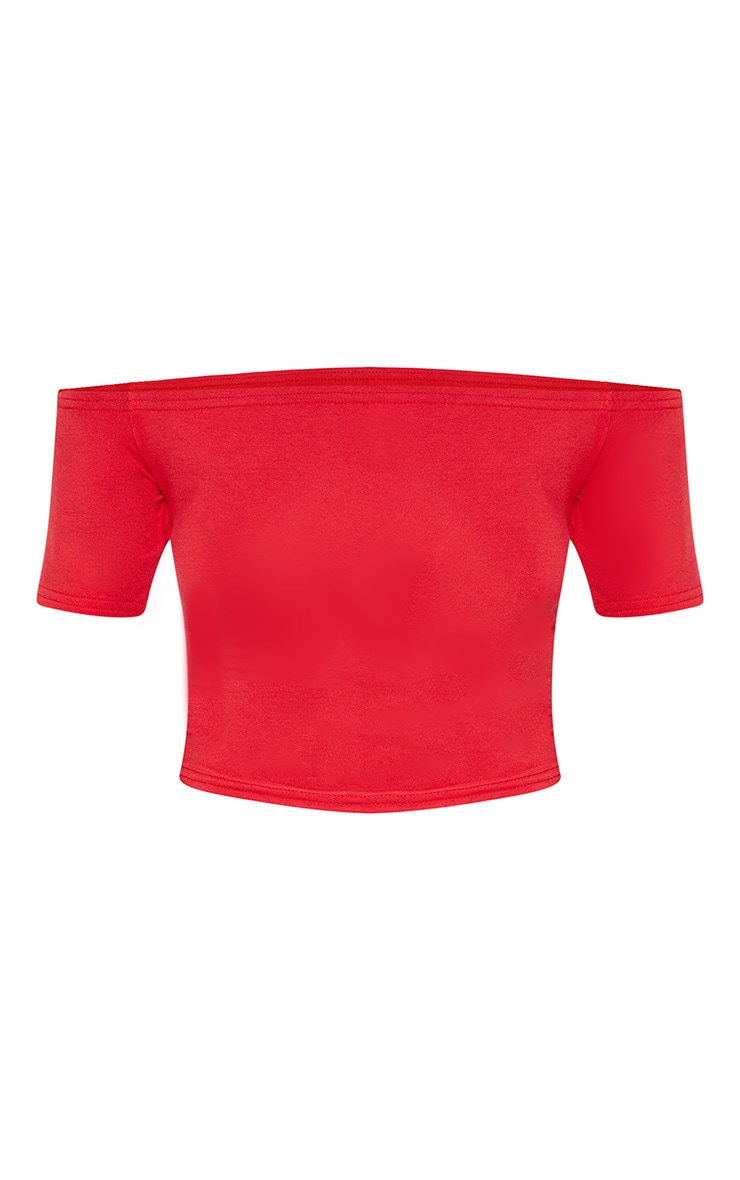 Basic Red Bardot Crop Top 3