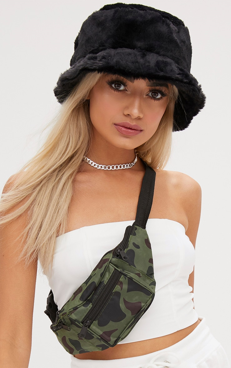 Black Fluffy Bucket Hat Accessories Prettylittlething Usa