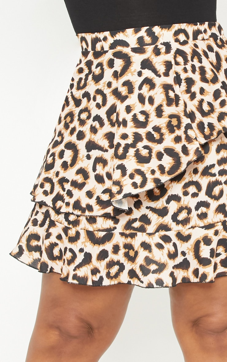 Plus Brown Leopard Print Frill Detail Mini Skirt  6
