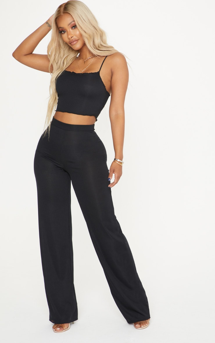 Shape Black Shirred Ribbed Crop Top 4