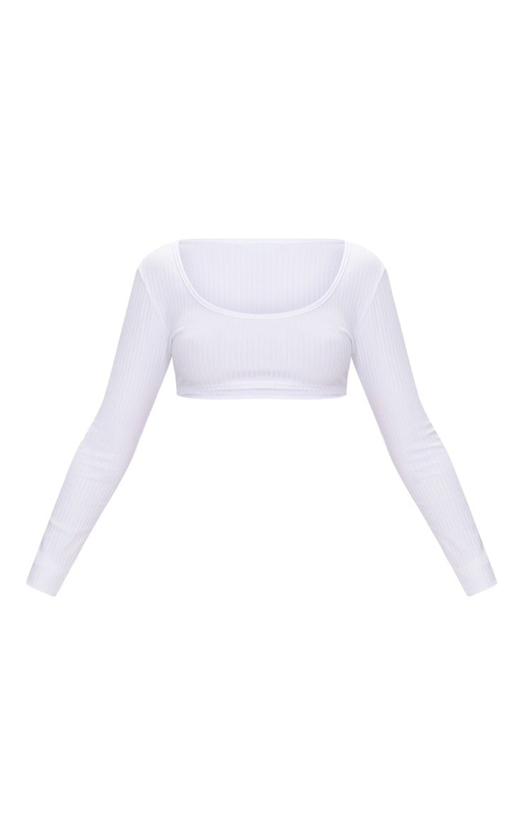 Basic White Rib Longsleeve Crop Top  3