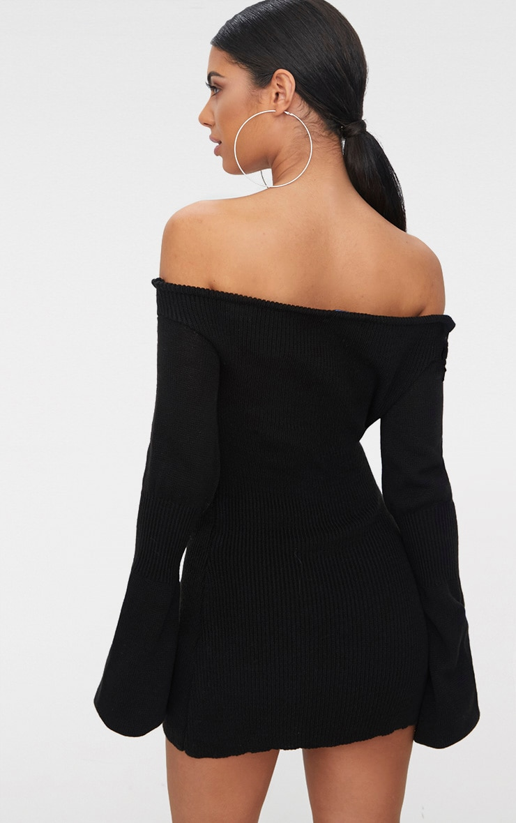 Black Ruched Knit Dress 2