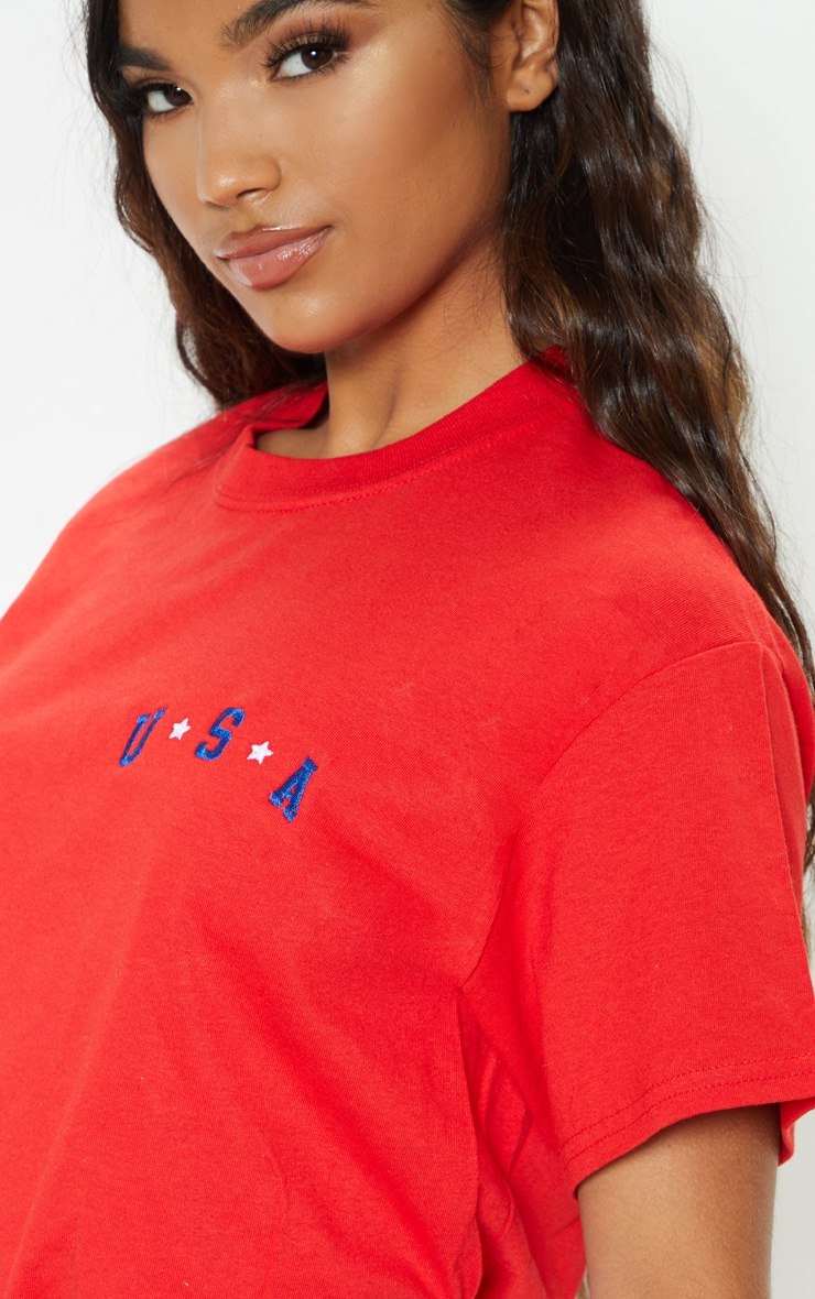 Red USA Star Embroidered Graphic Oversized T Shirt 4