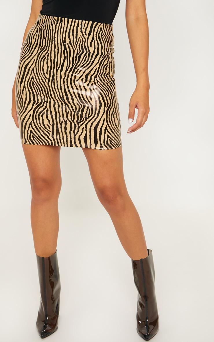 Sand Faux Leather Zebra Print Mini Skirt 2