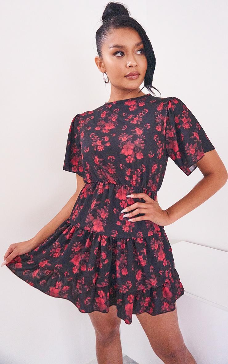 Black Floral Print Tiered Crepe Smock Dress 1