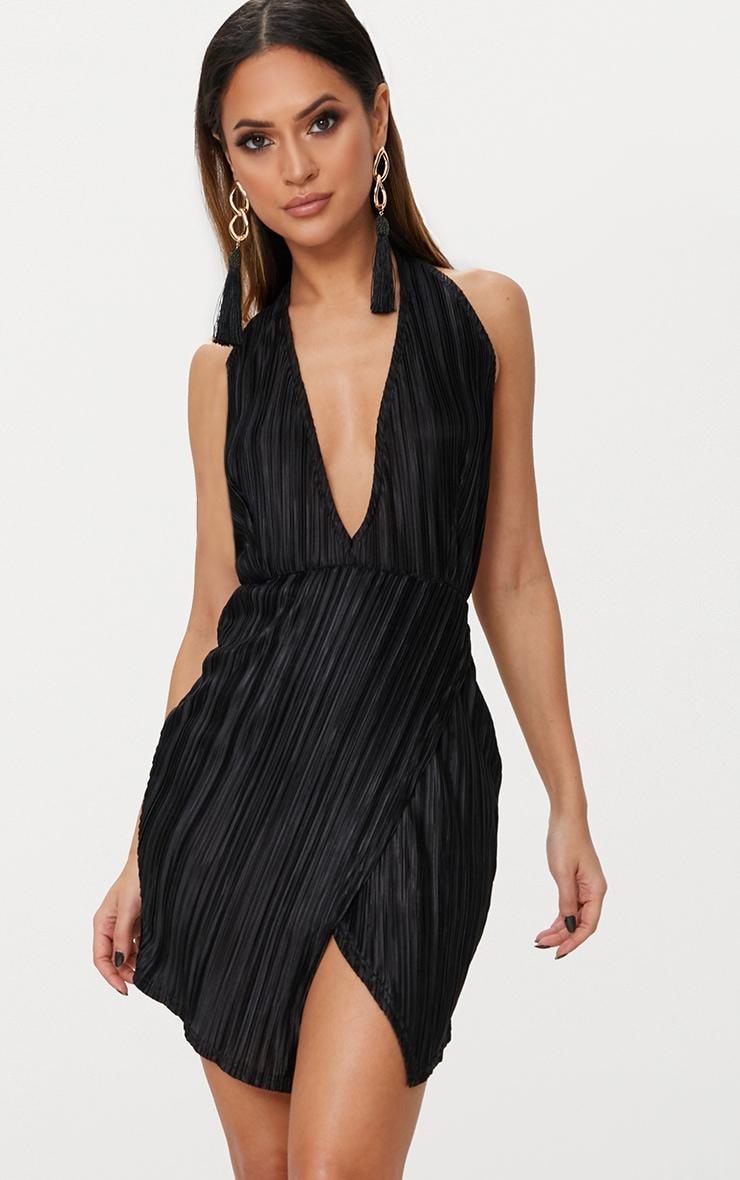 Black Halterneck Extreme Split Detail Pleated  Bodycon Dress 1