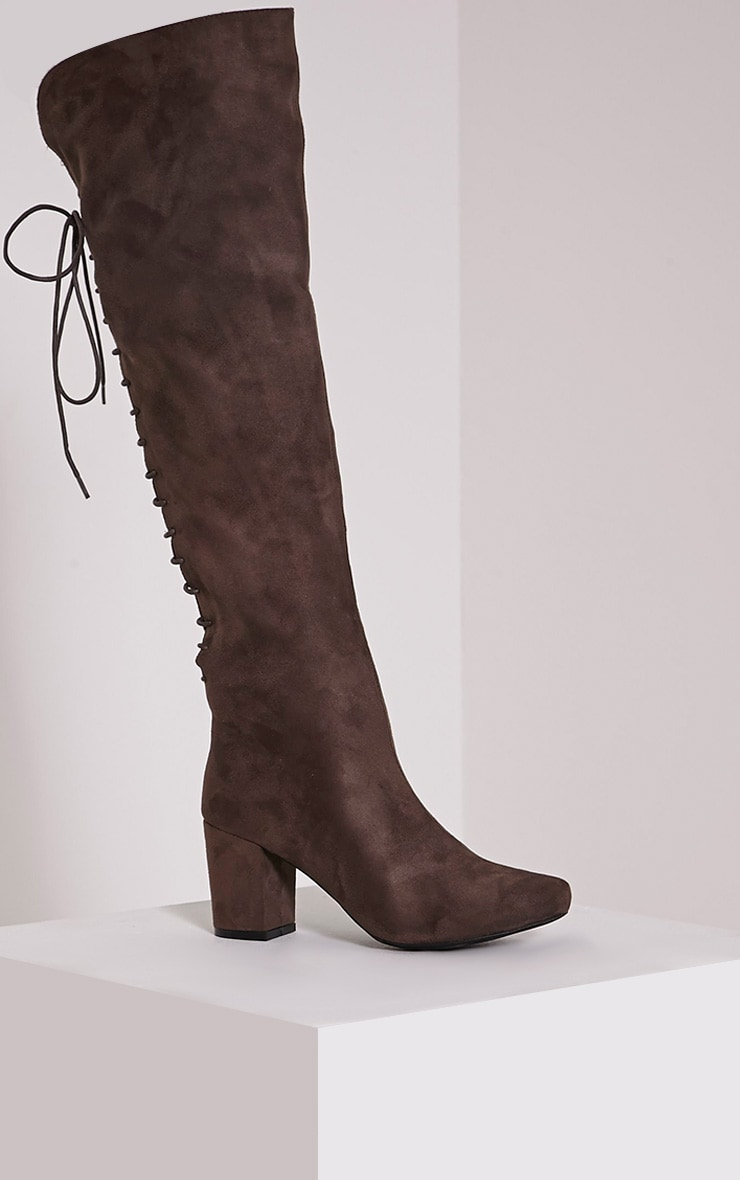 Sharan Taupe Faux Suede Laced Up Boots 3