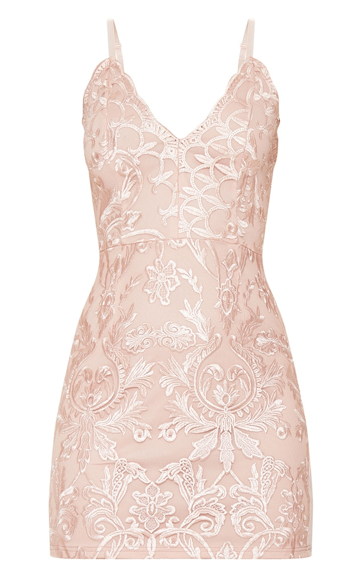 Dusty Pink Embroidered Lace Detail Plunge Bodycon Dress 3
