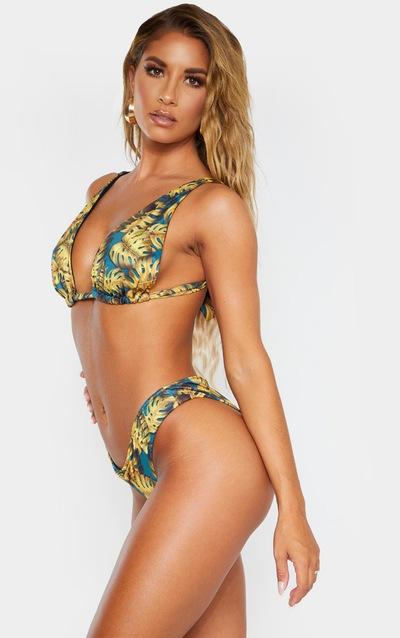 Teal Leaf Print Cheeky Bum Bikini Bottom