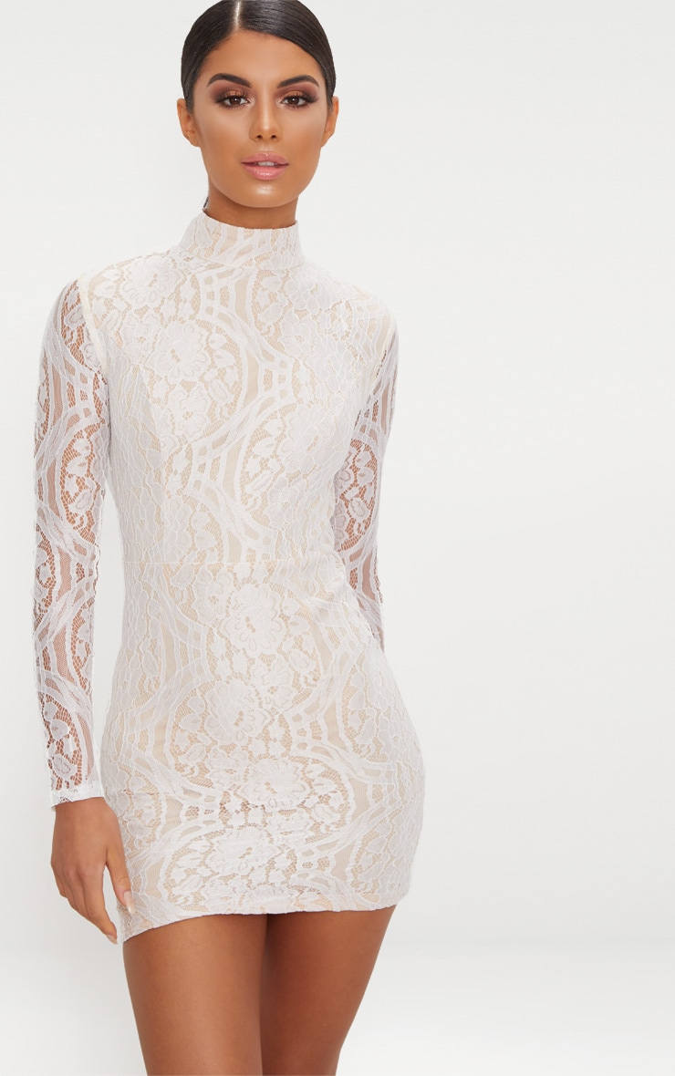 White High Neck Long Sleeve Lace Bodycon Dress 1