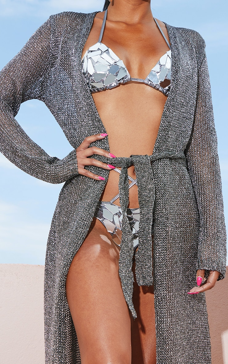 Silver Belted Metallic Knitted Dress 4