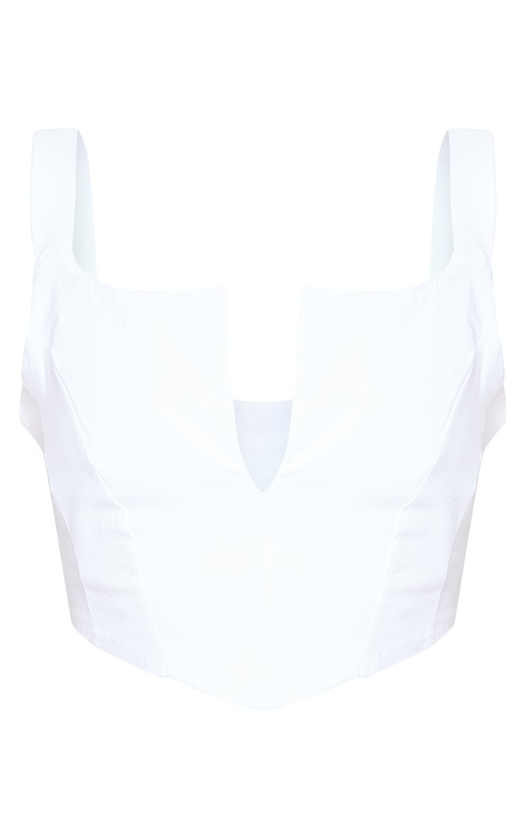 White Bengaline V Front Crop Top 5