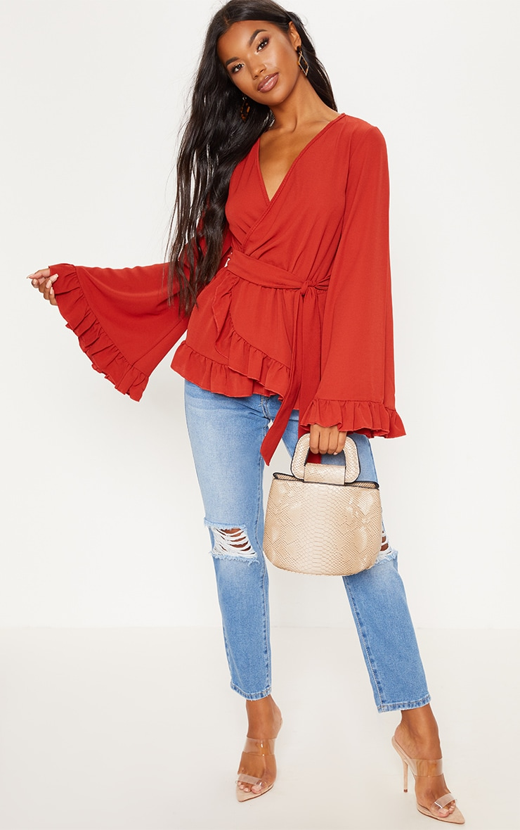 Rust Flared Sleeve Frill Blouse 4