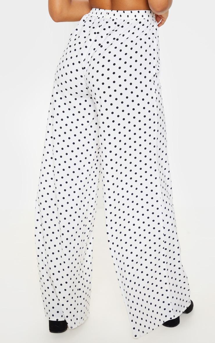 White Polka Dot High Waisted Wide Leg Pants 4