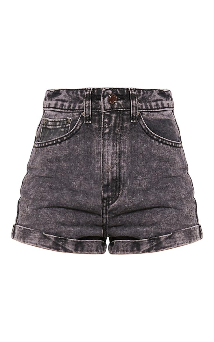 Vida Black Turn Up Hem Denim Hotpants 3