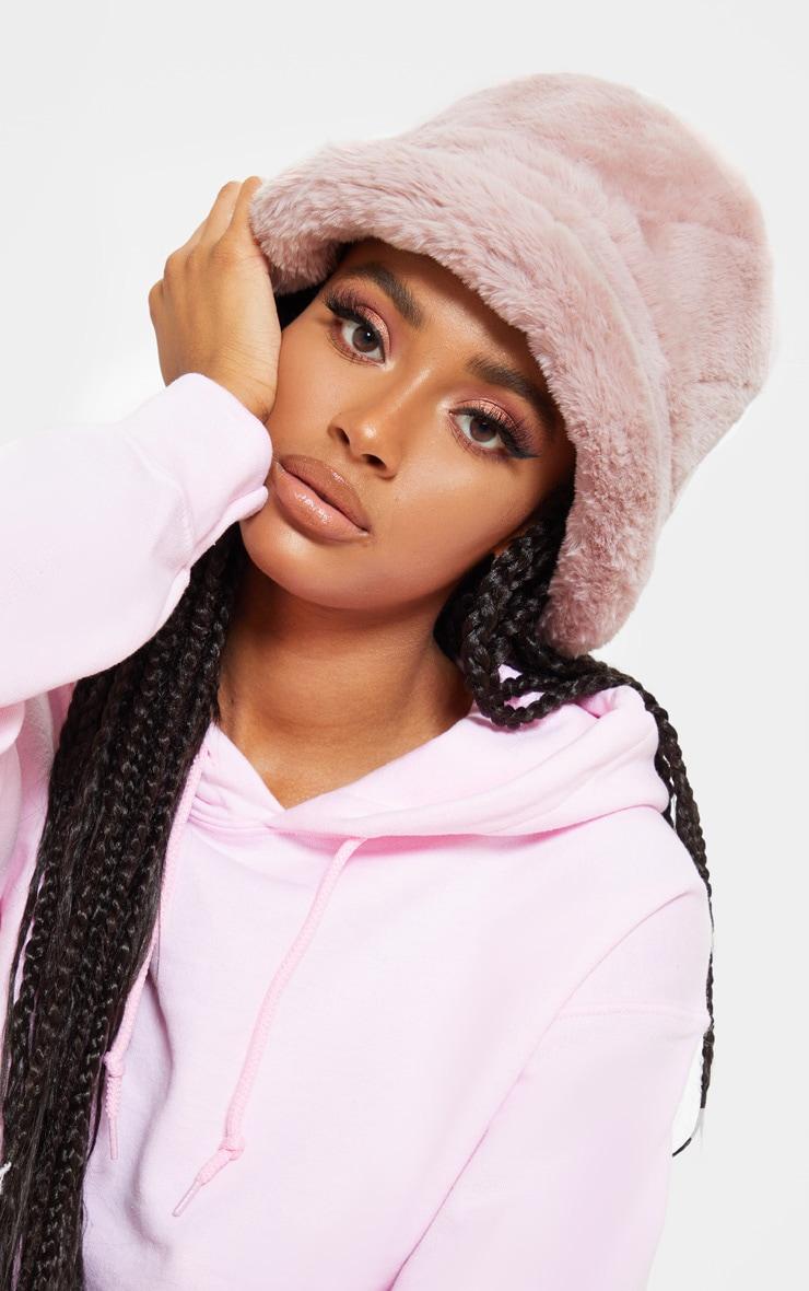 Pink Faux Fur Bucket Hat 1
