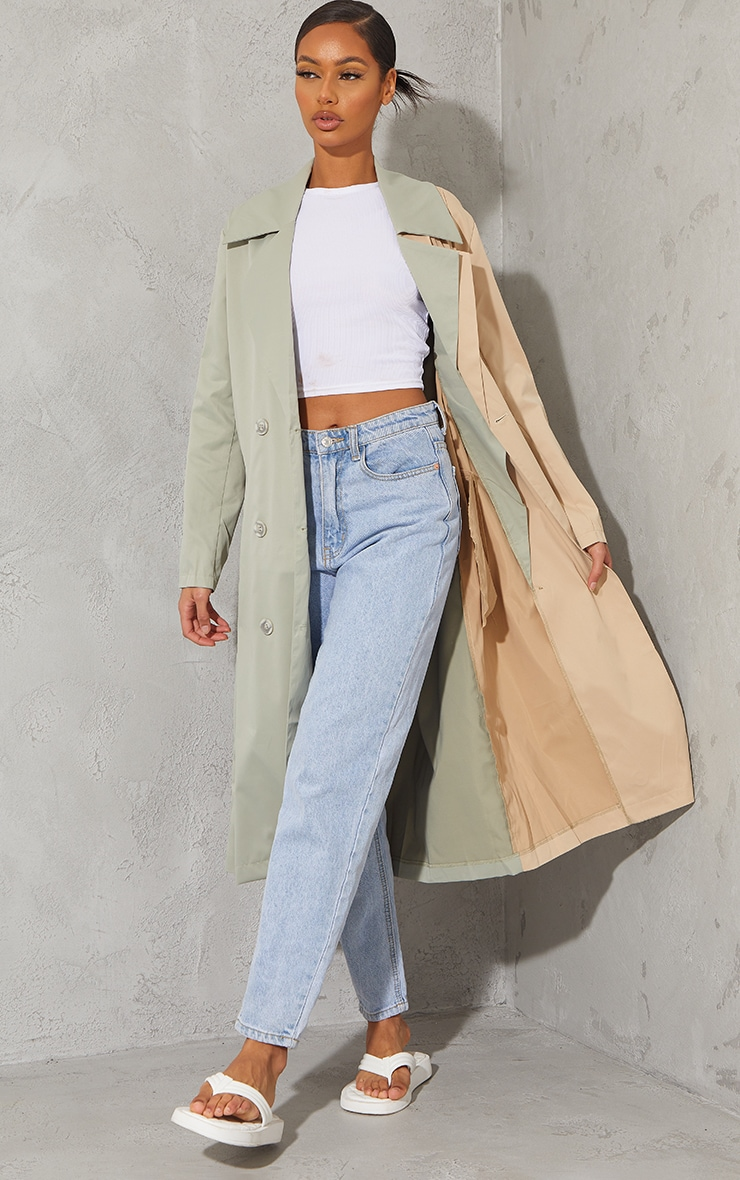 Khaki Woven Contrast Belted Midi Trench 1