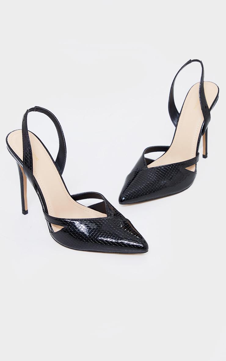Black Snake PU Sling Back Cut Out High Heel Court Shoes 3
