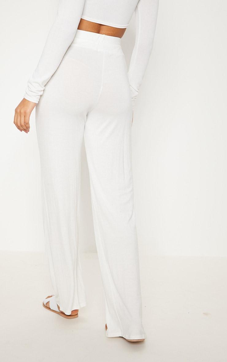 Cream Drawstring Jersey Wide Leg Jogger 4