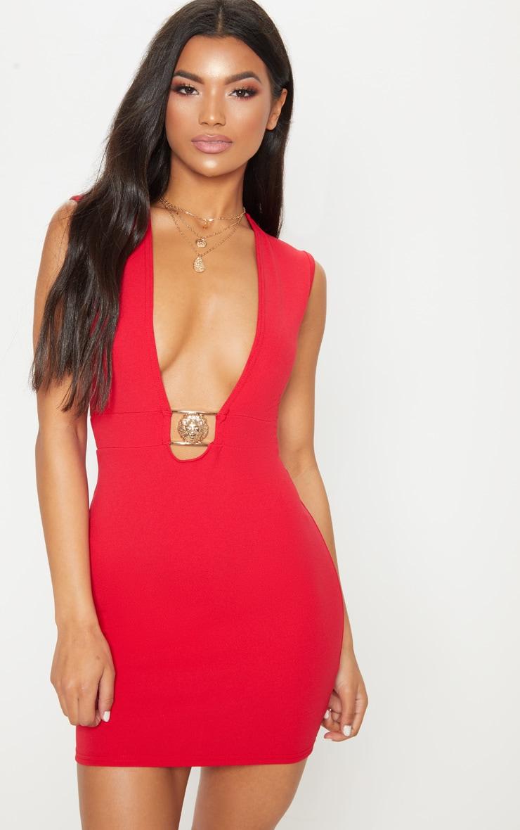 Red Sleeveless Lion Buckle Plunge Mini Dress 1