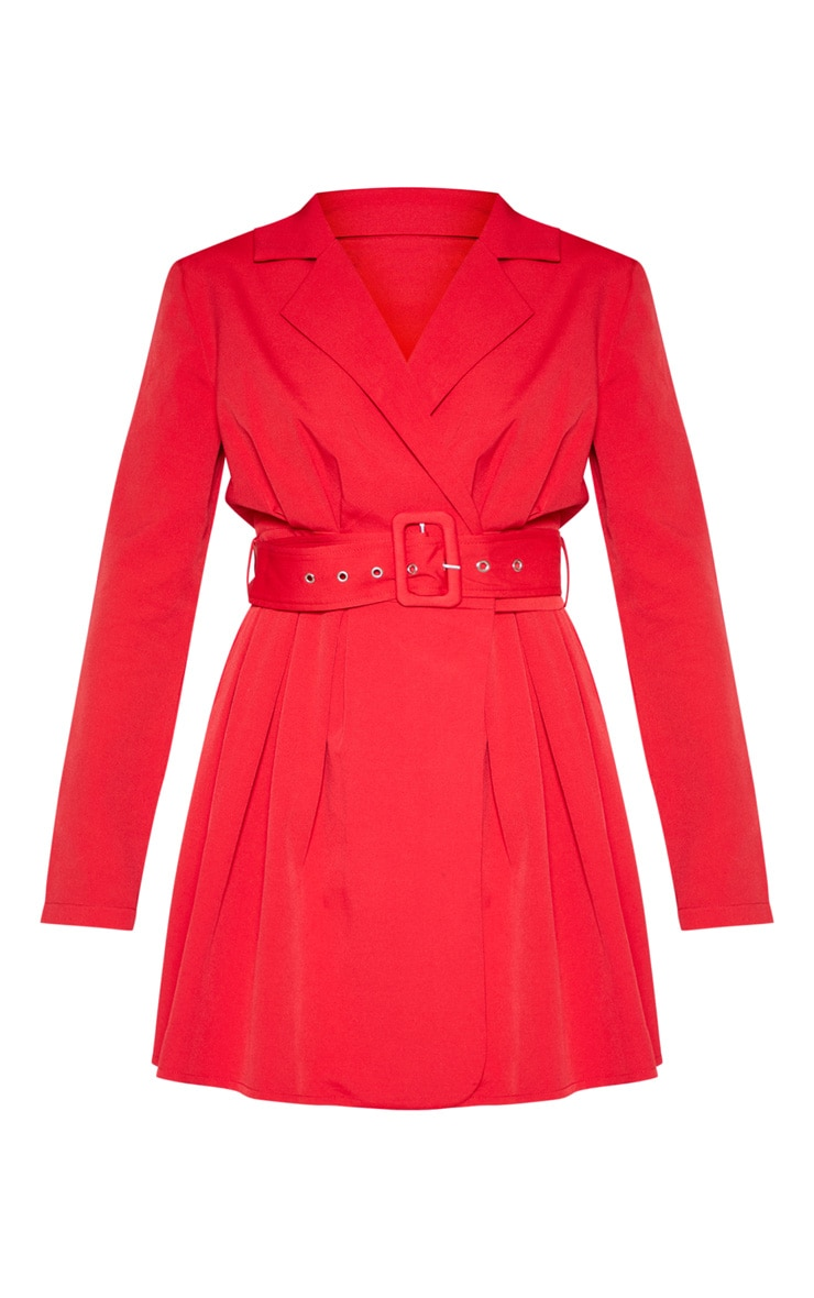 Red Belt Detail Blazer Dress 4