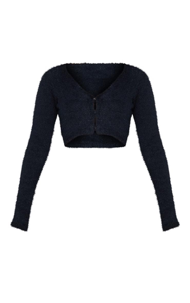 Black Eyelash Knit Crop Cardigan 5