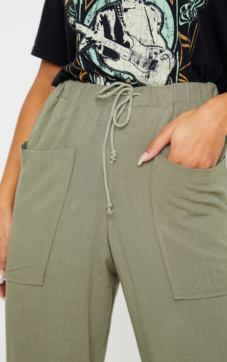 Khaki Drawstring Waist Tapered Pocket Trouser 5