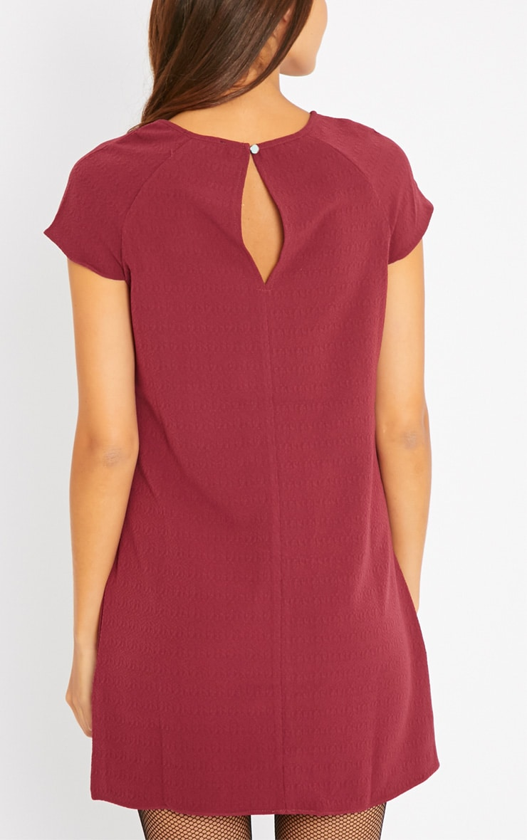 Sabra Berry Waffle Loose Fit Shift Dress 2