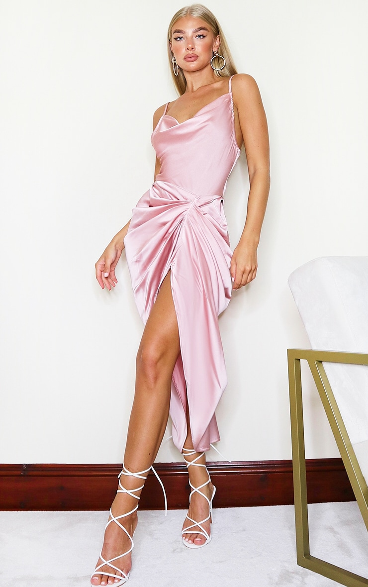 Rose Satin Strappy Cowl Neck Side Gathered Midi Dress 1
