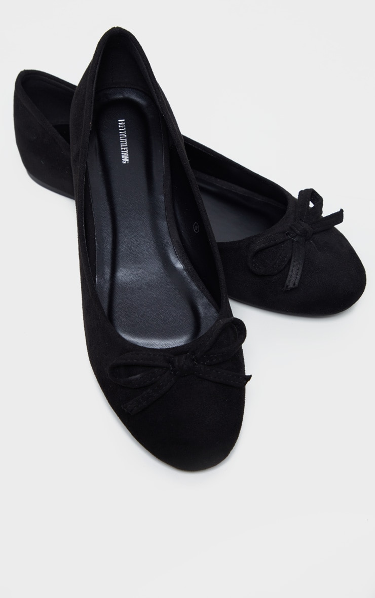 Black Wide Fit Round Toe Ballet Shoes 1