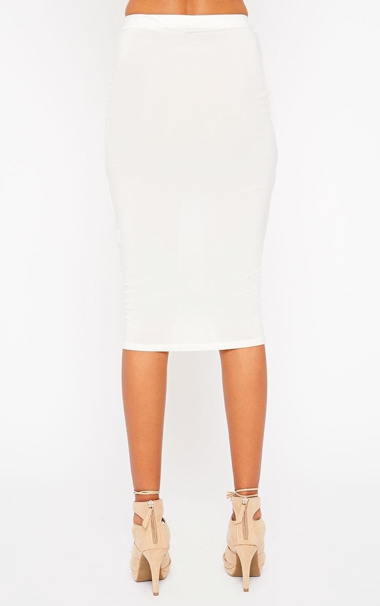 Siobhan Cream Slinky Midi Skirt 3