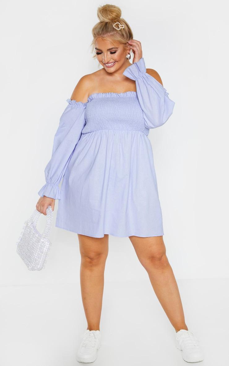 Plus Dusty Blue Shirred Bardot Long Sleeve Dress 1