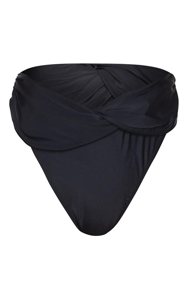 Black Turnover Twist High Leg Bikini Bottoms 5