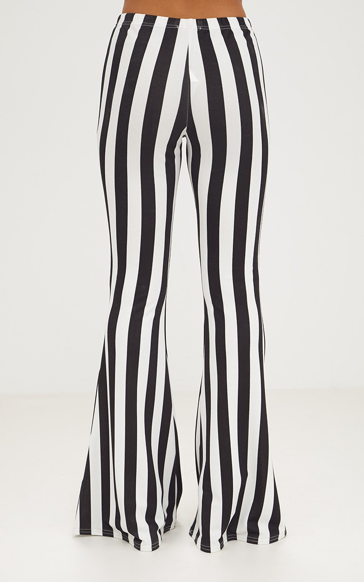 Monochrome Humbug Stripe Flared Trousers 4