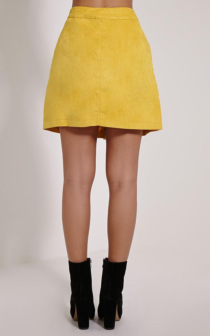 Cheryl Mustard Suede Button Front Skirt 4