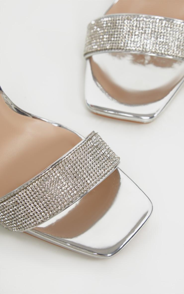 Silver Diamante Strappy High Sandal 4