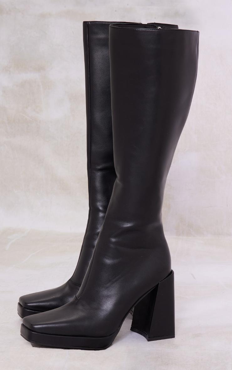 Black PU Square Toe Platform Knee Boots 3