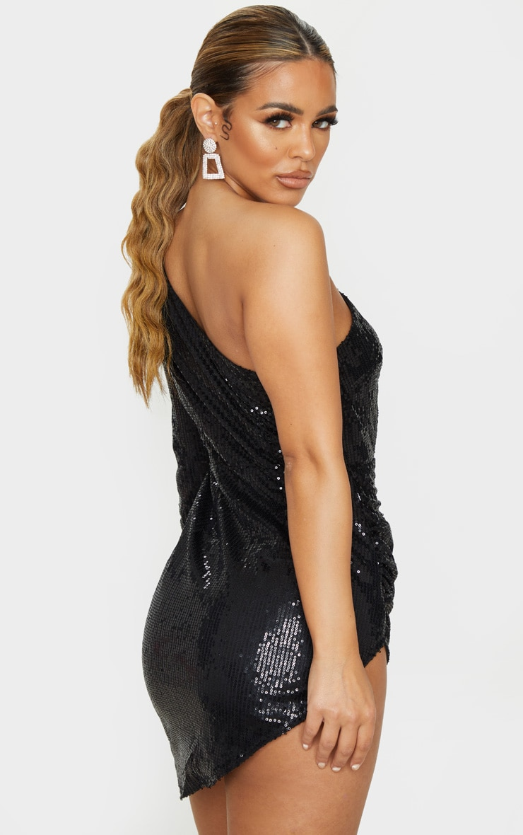 Petite Black Sequin Cut Out Ruched Side Bodycon Dress 2