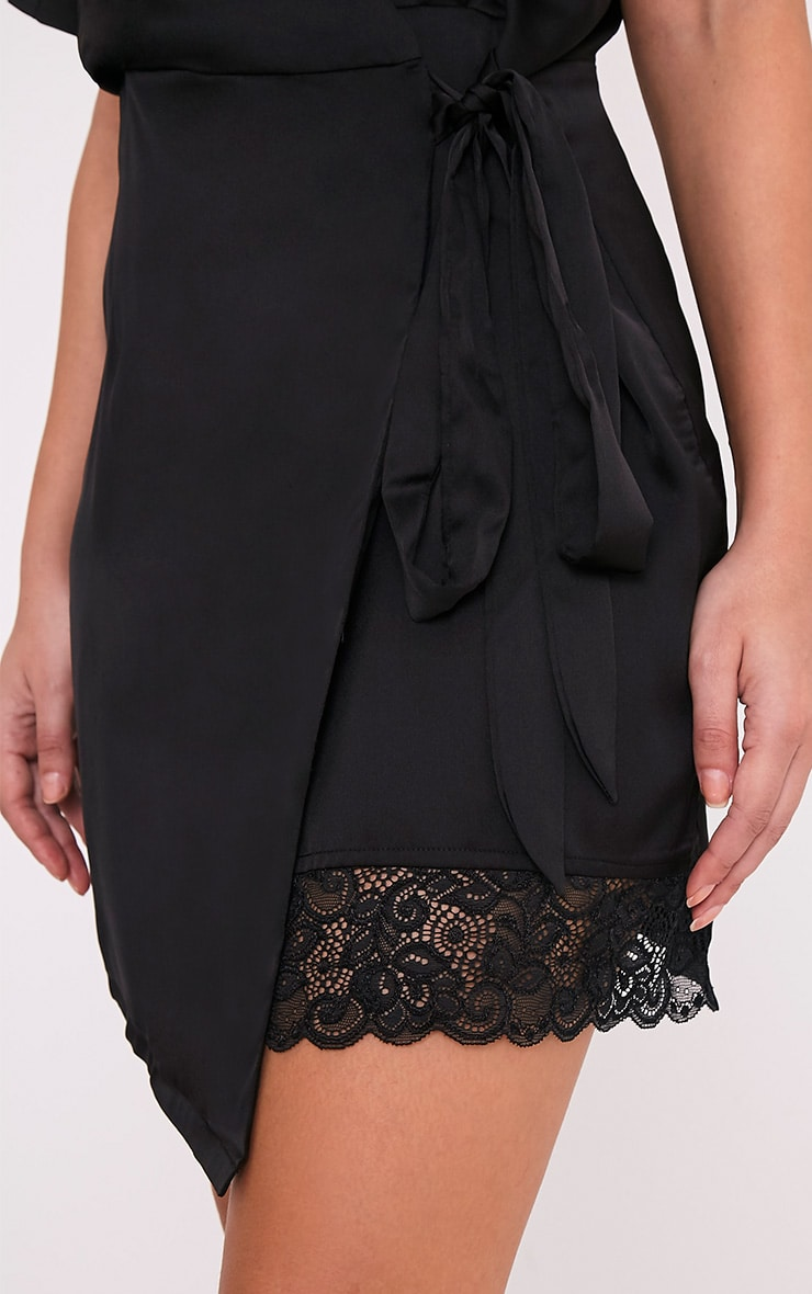 Sereene Black Silky Lace Trim Kimono Dress 6
