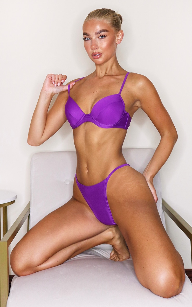 Purple Mix & Match Push Up Cupped Bikini Top 1