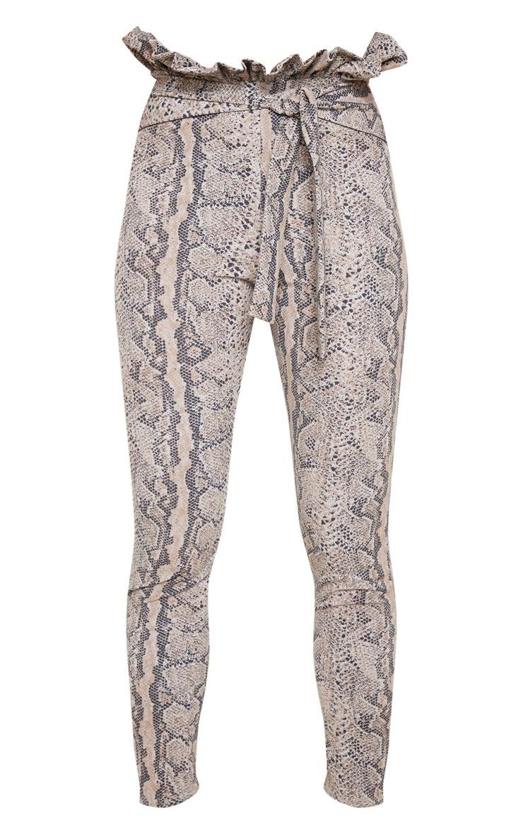 Tan Snake Print Paperbag Skinny Pants  3