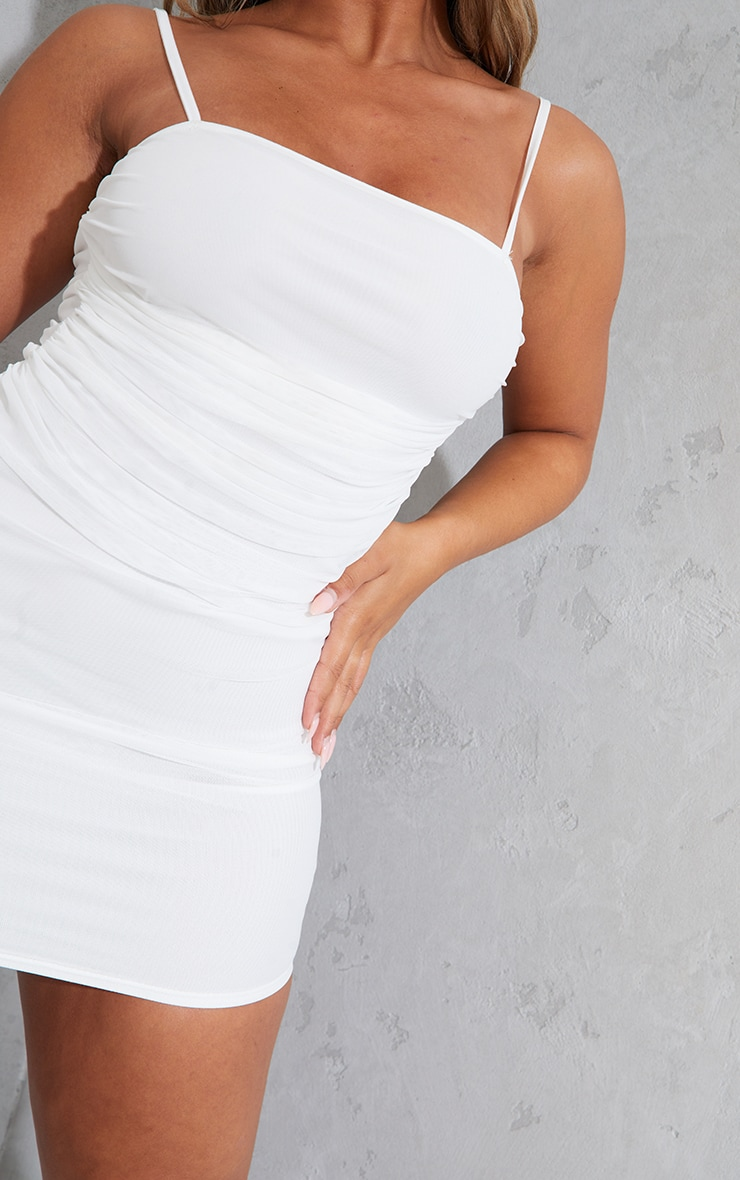 Shape Cream Strappy Ruched Mesh Bodycon Dress 4